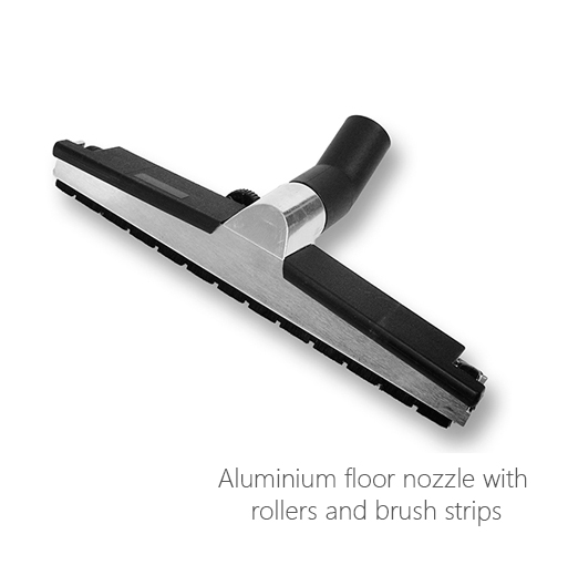 Aluminium floor nozzle with rollers and brush strips, 052-0120, 052-0121, 052-0213, 052-0214, 052-0215