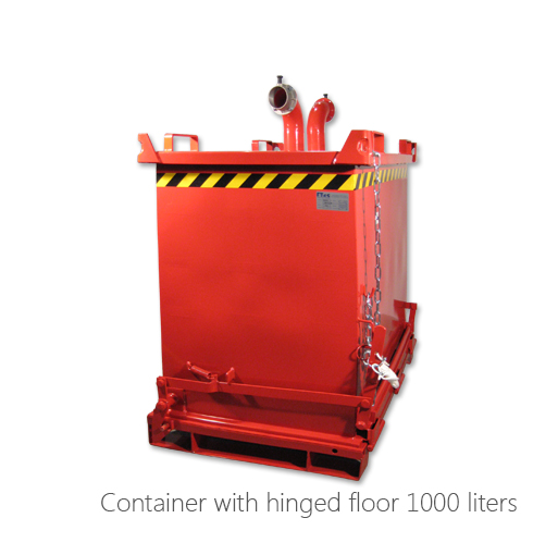 Container with hinged floor 1000 liters, 053-2020